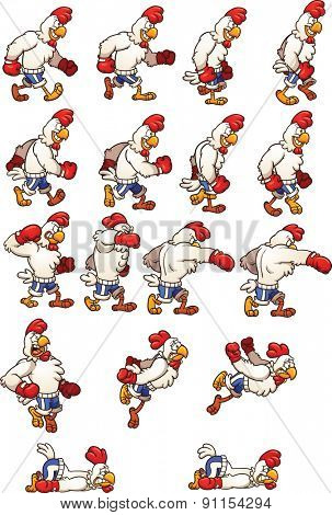 Boxing chicken. Vector clip art illustration with simple gradients. Each element on a separate layer.