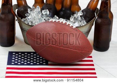 Fourth Of July Celebration With Football And Ice Cold Beer
