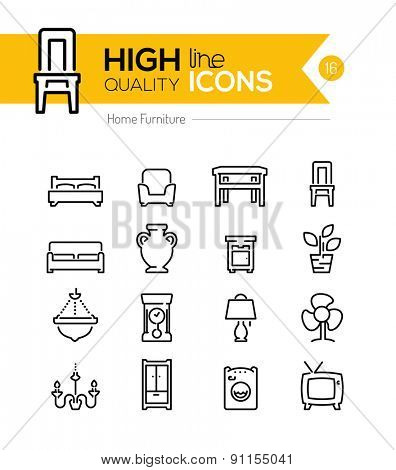High Quality Furniture line icons