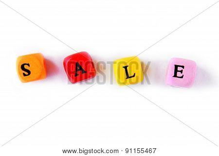 sale word multicolor wooden cubes