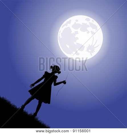 little girl silhouette holding tied the moon