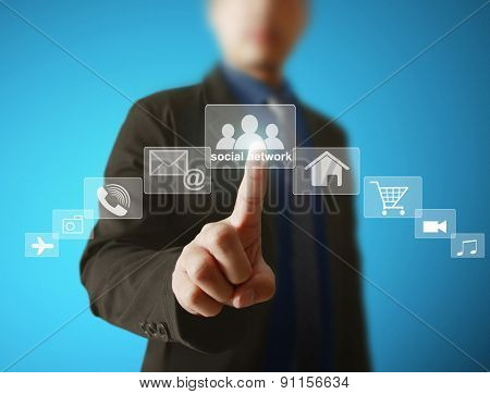 Social network icon in hand business man
