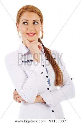 Youg Businesswoman Standing With Hand On Chin