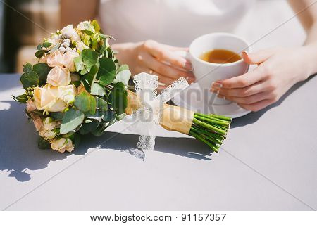 Young Bride Drinking Tea