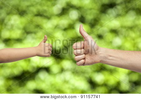 Father And Son Hands Giving Like On Nature Background