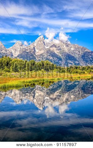 Scenic View Of Grand Teton Mountains  With Water Reflection, Usa