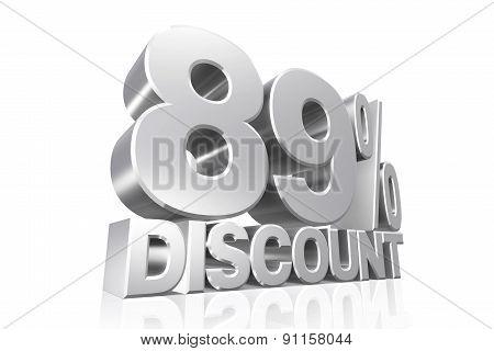 3D Render Silver Text 89 Percent Discount.