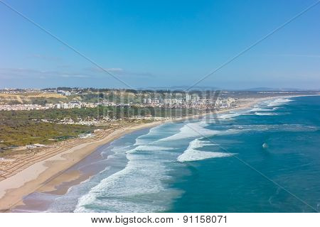 Aerial View Of Costa Caparica Coast Beach In Lisbon, Portugal