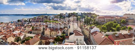 Panoramic View Of Lisbon Rooftop From Sao Vicente De Fora Church Viewpoint  In Portugal