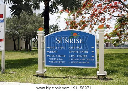 City Of Sunrise Directions To Services Sign