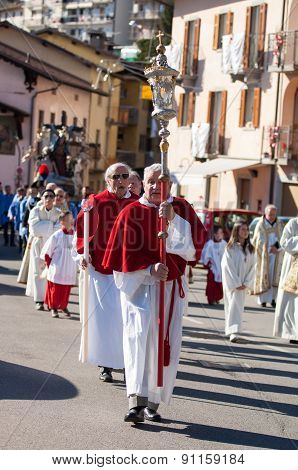 Dossena,   Italy - March 27: Unidentified Participants In Religious Procession