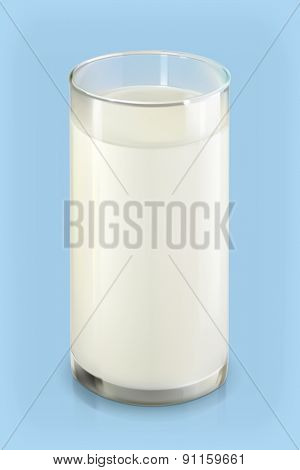 Glass of milk, vector object on blue background