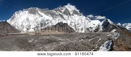 Panoramic View Of Mount Lhotse And Island Peak