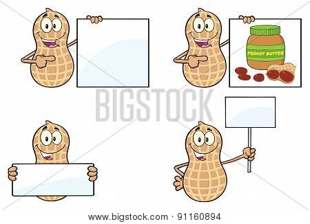 Peanut Cartoon Character. Collection Set