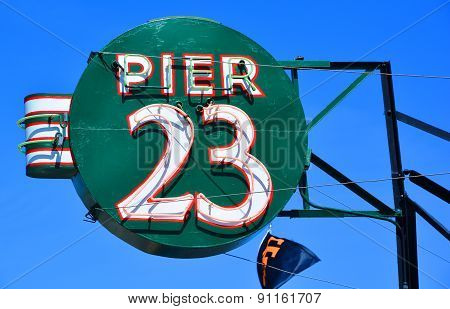 Sign of the Pier 23 Cafe