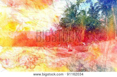 Retro watercolor palm grove