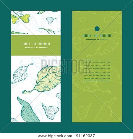Vector lineart spring leaves vertical frame pattern invitation greeting cards set