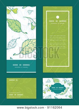 Vector lineart spring leaves vertical frame pattern invitation greeting, RSVP and thank you cards se