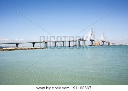 Construction Of The New Bridge In Cadiz, Spain