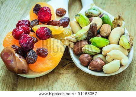 Varieties Of Dried Fruits And Nuts On Wooden Spoons.