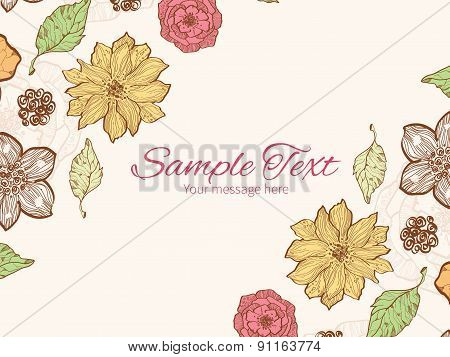 Vector warm fall lineart flowers horizontal double corners frame invitation template