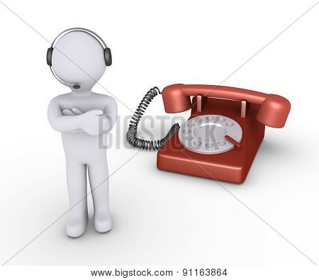 Operator With Headset And Telephone