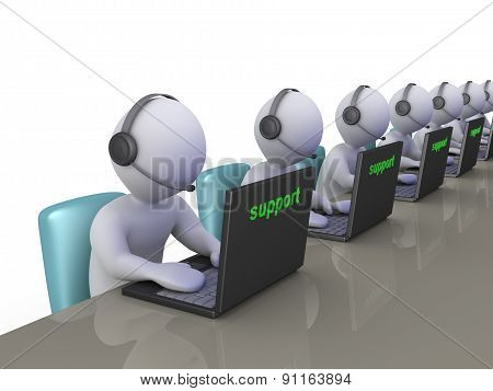 Operators At Support Call Center