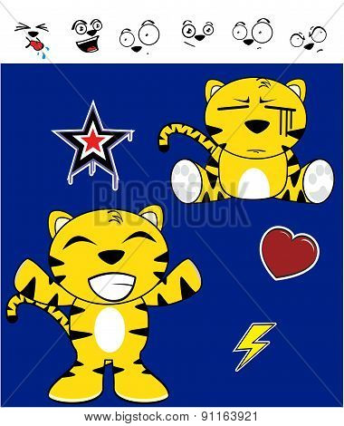 cute tiger funny expressions cartoon set