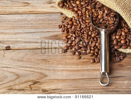 Coffee on grunge wooden background