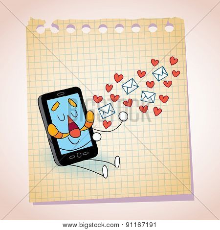 Cell phone sending love messages note paper cartoon sketch