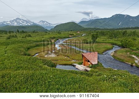 Goryacherechensky group hot springs and Goryachaya River. Nalychevo, Kamchatka