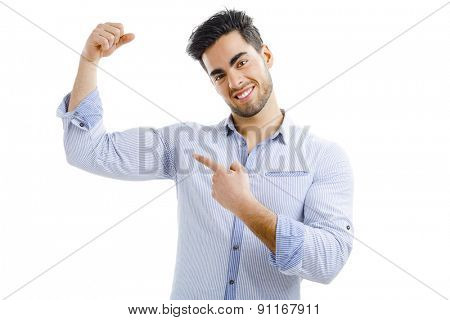 Portrait of handsome man pointing to a sweat armpit, isolated on white background