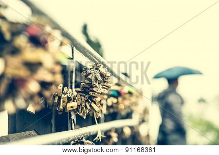 hundreds locks on lover bridge as a traditional symbol of eternal feeling