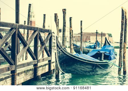 gondola at berth on the Venice channel, Italy