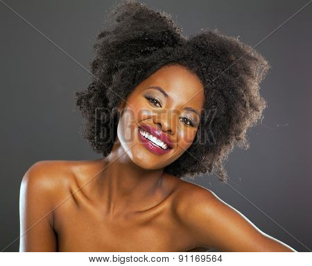 african american fashion woman headshot over black