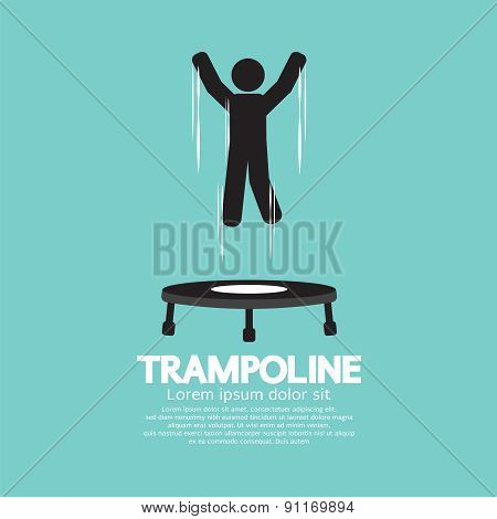 Black Symbol Of A Person Jumping On Trampoline.