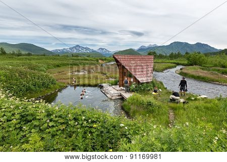 Goryacherechensky group hot springs. Nalychevo nature park on Kamchatka. Russia, Far East