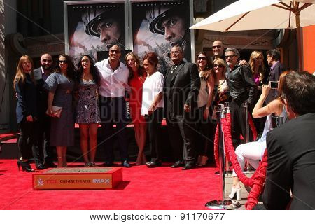 LOS ANGELES - MAY 19:  Dwayne Johnson, family, friends at the Dwayne Johnson Hand and Foot Print Ceremony at the TCL Chinese Theater on May 19, 2015 in Los Angeles, CA