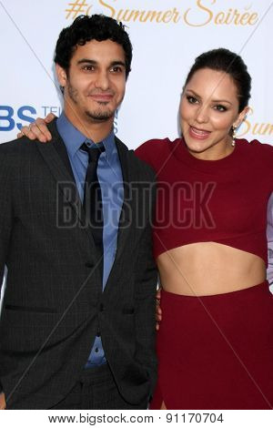LOS ANGELES - MAY 18:  Elyes Gabel, Katharine McPhee at the CBS Summer Soiree 2015 at the London Hotel on May 18, 2015 in West Hollywood, CA