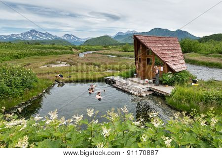 Goryacherechensky hot springs. Nalychevo nature park on Kamchatka. Russia, Far East