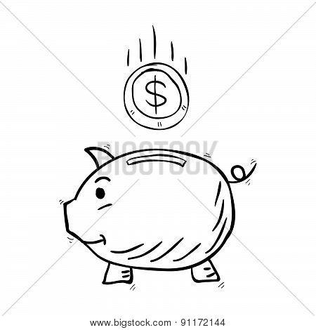 Piggy Bank Hand Drawn Vector Illustration