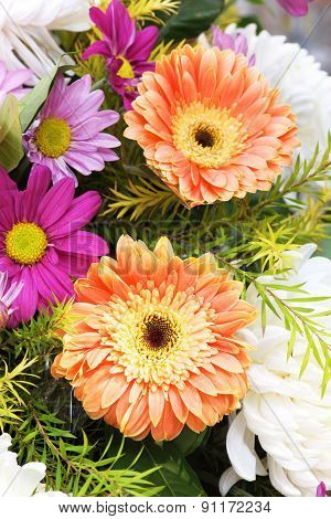Gerbera And Daisy A Bouquet Of Flowers