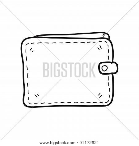 Money Wallet Hand Drawn Vector Illustration