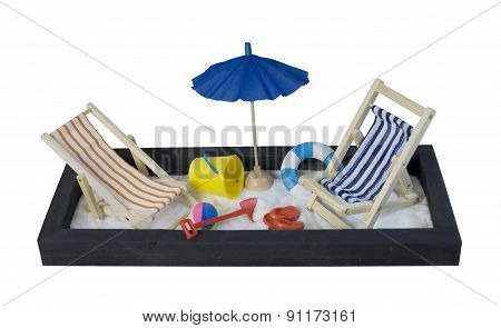 Beach Chairs With Umbrella And Shovel And Pail