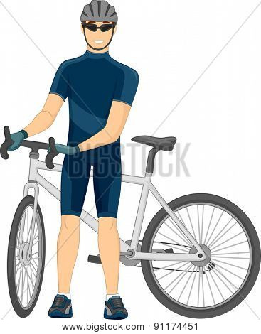 Illustration of a Cyclist Standing Beside His Bike