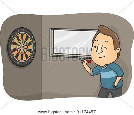 Illustration of a Bar Patron Trying to Hit the Dartboard