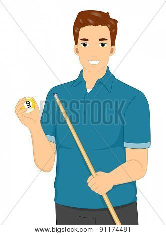 Illustration of a Man Holding a Cue Stick and a Billiard Ball