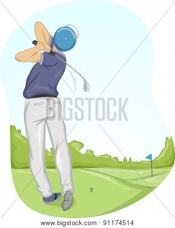 Frame Illustration of a Golfer Swinging His Club