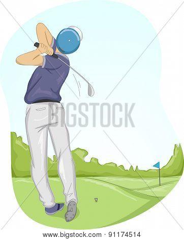 Frame Illustration of a Golfer Swinging His Club