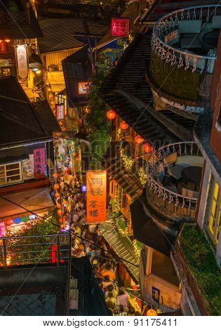 The seaside mountain town scenery in Jiufen, Taiwan